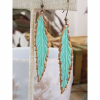 Mint and Bronze Feather Earrings