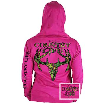 Country Life Outfitters Pink Camo Realtree Deer Skull Head Hunt Vintage Hoodie