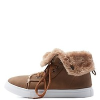 HIGH TOP SNEAKER WITH FAUX FUR LINING