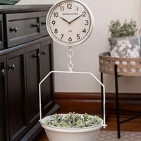 Decorative Farmhouse White Vintage Hanging Decorative Scale w/Clock