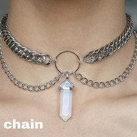 MORE COLORS! Silver draping chain choker with hexagonal stone pendant point!