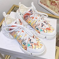 Christian Dior hot sale letter print stitching color ladies sneakers casual shoes