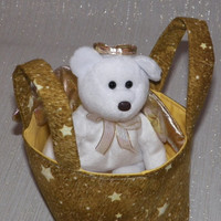 Angel Bear Teeny Tote Bag with Bear Beany Toy in a Tan Star Tote