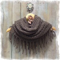 Scarf, scarves, infinity, knit , women, knit, CHIC FRINGE chestnut brown | SC5