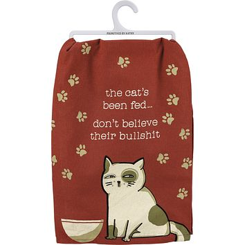 """The Cat's Been Fed Dish Cloth Towel   Novelty Silly Tea Towels   Cute Kitchen Hand Towel   Pets, Cats, Paw Print   28"""" Square"""