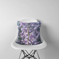 Violet Floral Pillow with Japanese Wisteria Flowers. Outdoor Throw Cushion. Violet Flowers Pillow Cover .  Botanical Decor