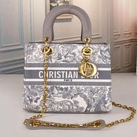 DIOR New Canvas Embroidery Printed Ladies Shopping Handbag Shoulder Bag Messenger Bag