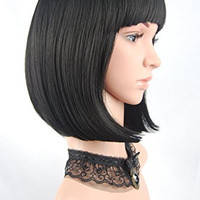 eNilecor Straight Short Hair Bob Wigs 14''  Straight with Flat Bangs Cosplay Wigs for  Women Natural As Real Hair(Black)