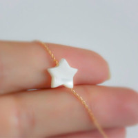 SALE! Tiny pearl Star necklace, statement necklace, star pearl necklace, freshwater pearl necklace, small white star, star gold necklace