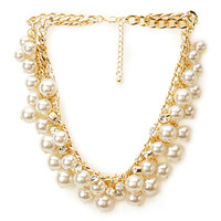 FOREVER 21 Opulent Pearlescent Choker Cream/Gold One
