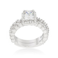 Genna Radiant Halo Engagement and Wedding Ring Set   4ct   Cubic Zirconia   Silver