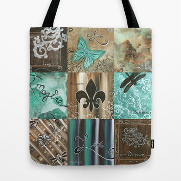 Live and Love Whimsical Inspirational Design by Megan Duncanson© Tote Bag by Megan Aroon Duncanson ~ MADART