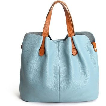 Genuine Leather  Bucket Tote