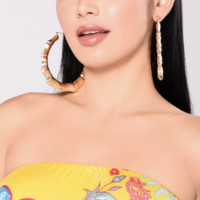 Gold Bamboo Style Earrings