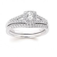 1/2ct tw Diamond Loves First Kiss Halo Engagement Ring in 14K White Gold - Designer Prototypes - Engagement Rings