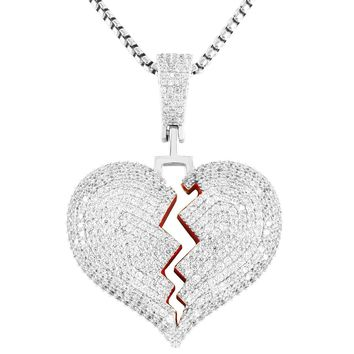 Red Broken Heart Solid Back  Mini Pendant Chain