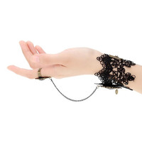 Retro Vintage Gothic Lolita Vampire Crystal Rhinestone Chain Black Lace Bracelet Bangle with Ring Party Wedding Bride Bridesmaid Jewelry Accessories for Women Girls