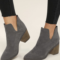Ezra Grey Suede Ankle Booties