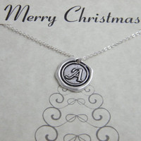 Christmas Jewelry , Personalized Necklace , Personalized Christmas Necklace , Wax Seal Initial Necklace