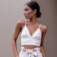 Women V-Neck Lace Hollow Fashion Sleeveless Vest Tank Top Cami