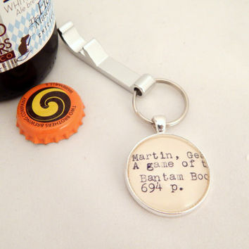 Game of Thrones keychain, gifts for men, Game of Thrones fan gift, bottle opener, mens key ring, gifts under 10, unique guy gift, GoT book