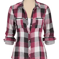 Long Sleeve Plaid Button Down Shirt with Lurex