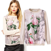 Long Sleeve Floral Knitted Pullovers