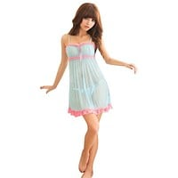 Sexy Deep V Nightdress Nightgown Lace Lingerie Babydoll Women Sleepwear NightwearDQ02