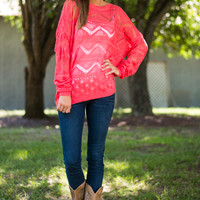 See Through Chevron Sweater, Coral
