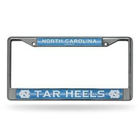 North Carolina UNC Tar Heels NCAA Glitter Bling Chrome License Plate Frame