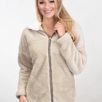 Sherpa Zip Up Jacket ~ Cement