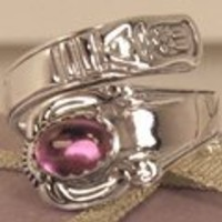 Sterling Silver Spoon Ring with Amethyst gemstone