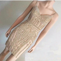 Charming Spaghetti Straps Crystal Prom Dresses Short Party Dresses Cocktail Dresses 2017