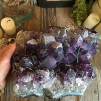 Large Amethyst Geode / Raw Crystal Cluster / Large Amethyst and Calcite Cluster / Healing Crystals / Huge Raw Amethyst Cluster