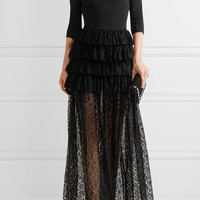 Alessandra Rich - Off-the-shoulder ruffled guipure lace and cady gown