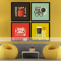 [$76.49] Coffee Room KTV Frames Wall Art Wood Frame with Canvas with Plastic Organic Glass 4Pieces/set