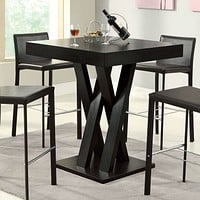 Modern 40-inch High Square Dining Table in Dark Cappuccino Finish