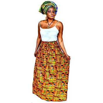 Kente Print  Long Skirt ~ The AQUA