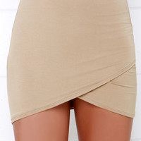 Tulip Locked Beige Bodycon Skirt