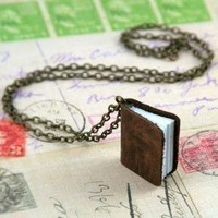 ON SALE Genuine Leather Mini Journal Necklace by sweetvictorian