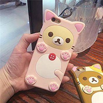 Funermei Pink Bear Case for iPhone X/iPhone Xs,Silicone 3D Cartoon Animal Cover,Kids Girls Cool Fun Lovely Cute Cases,Kawaii Soft Gel Rubber Unique Character Fashion Funny Protector for iPhoneX/XS