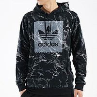 Adidas New fashion bust letter print men sports leisure hooded long sleeve top Black