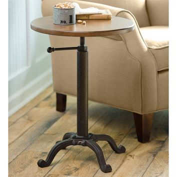 Round Side Table with Adjustable Height | Accent Tables | Plow & Hearth