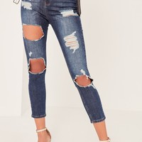Missguided - Blue Sinner Highwaisted Rip Cropped Skinny Jeans