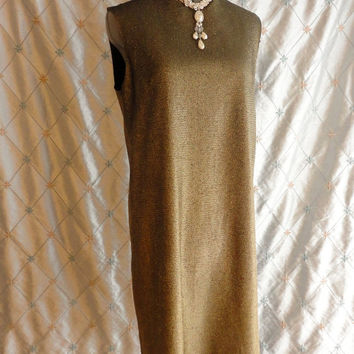 ON SALE 60s Dress // 60s Party Dress // Vintage 1960s Dark Gold Party Dress by Charlotta of California by Glaizier Size L