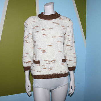 Vintage 80s METALLIC Pullover Sweater / Winter Icy White, Mocha Brown Knit / Dash Pattern / Pocket Front / Ribbed Sweater / Fuzzy Mohair / M