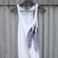 Oatmeal and Black Feathers Tri-Blend Racerback Tank Top - Creme and Black hand printed by Blonde Peacock