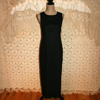 Black Sleeveless Maxi Dress Linen Shift Goth Gothic Lace Long Dress Embroidered Size 10 Dress Size 12 Dress Medium Large Womens Clothing
