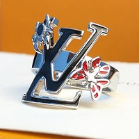 LV Louis Vuitton Hot New Lady Letter Temperament Butterfly Ring Birthday Gift Engagement Ring