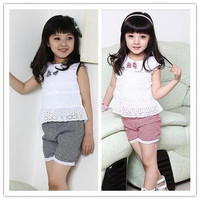 Baby Suit Summer Suit Baby Suit New Girls Summer Lovely Bowknot and Round Collar Vest Clothes Sweet Check and Cotton Shorts